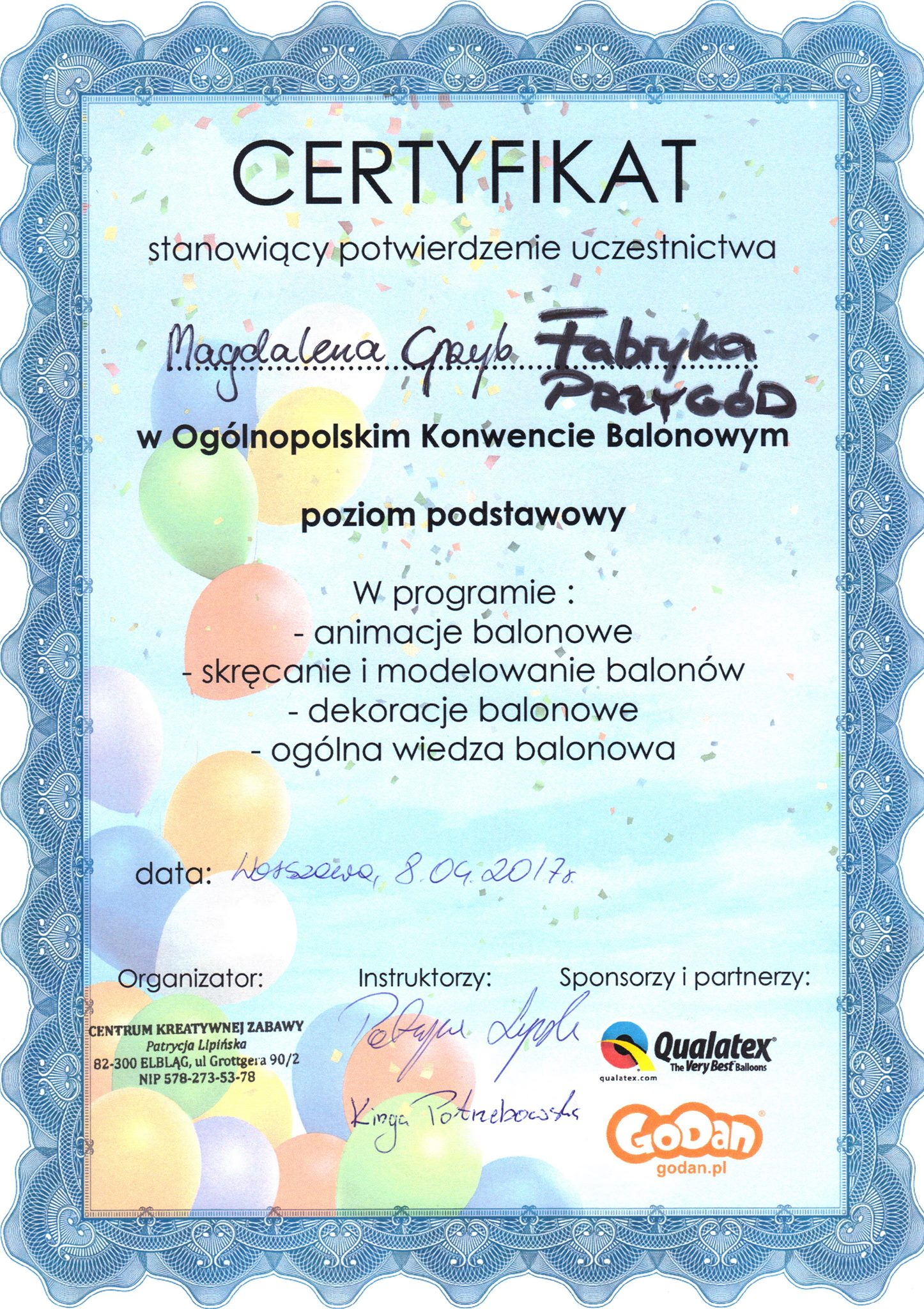 certyfikat balony